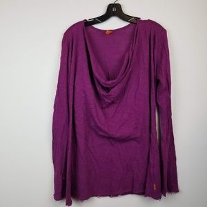 Lucy purple exercise long sleeve cowl neck top